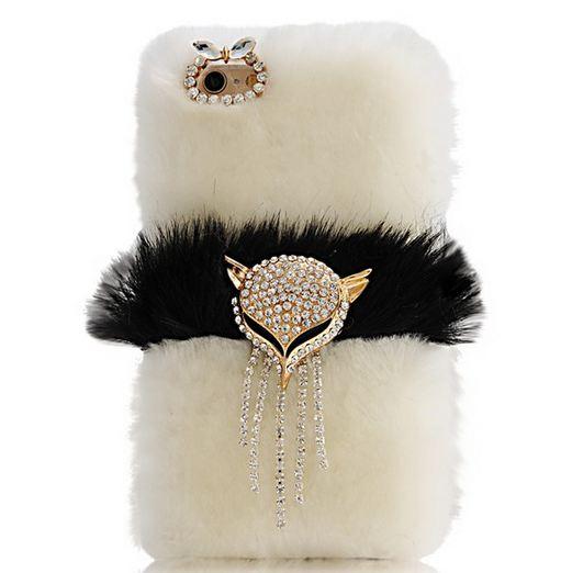 เคส iPhone 6 Plus 5.5 นิ้ว เคสขนมิ้ง ขนเฟอร์ เคสไฮโซ ขนนุ่ม สีขาว เคสขนกระต่ายแท้ คาดกลาง ด้วยสีดำ ติด คริสตัล สุนัขจิ้งจอก สุดหรู ยอดนิยม 506437