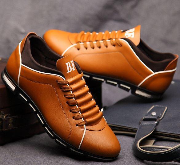 รองเท้าผ้าใบ ผู้ชาย แบบผูกเชือก รองเท้าหุ้มส้น หนัง แนว สปอร์ต แบบสวย ดีไซน์เท่ สีฟ้า น้ำตาล แดง ดำ 397619