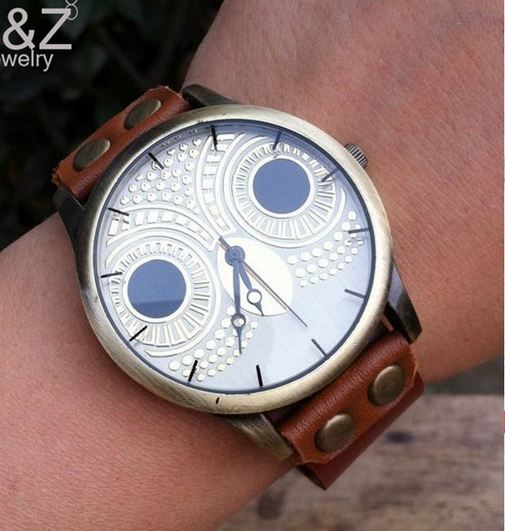 นาฬิกาข้อมือผู้หญิง นาฬิกาสายหนังแท้ แบบ คลาสสิค สไตล์ วินเทจ สายหนังสีน้ำตาล นาฬิกาข้อมือ หน้าปัดลาย นกฮูก น่ารักสุด ๆ 398233