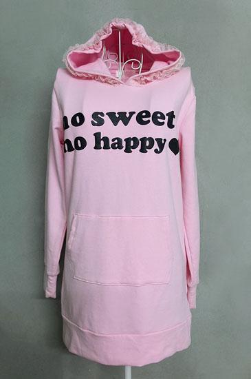 เสื้อยืดตัวยาวมีฮู้ดสีชมพู