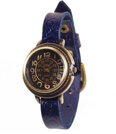 นาฬิกาข้อมือผู้หญิง สายหนังแท้ นาฬิกาข้อมือ แบบสายเล็ก สไตล์ วินเทจ หน้าปัด กลม ปั้มลาย ที่สายหนัง คลาสสิคสุด ๆ 505248