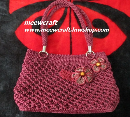 กระเป๋าถือเชือกร่ม รหัสPB021 ก้นกระเป๋า 9x 24ซม. สูง 22ซม.