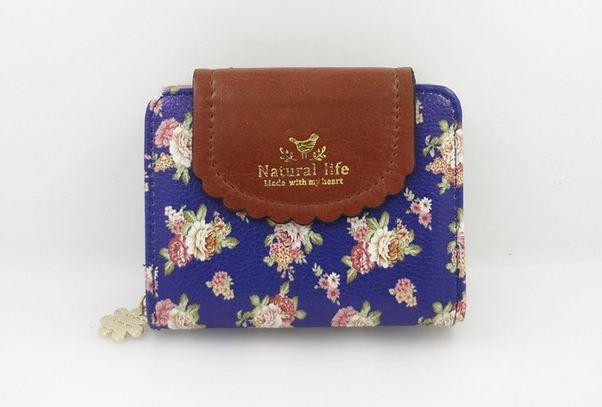 กระเป๋าสตางค์ผู้หญิง กระเป๋าสตางค์ ใบสั้น หนัง pu ลายดอกไม้ หวาน ๆ มีช่องใส่บัตร มีช่อง กระดุม ใส่เหรียญ แบบสวย แบบผู้ใหญ่ใช้ได้ 658961