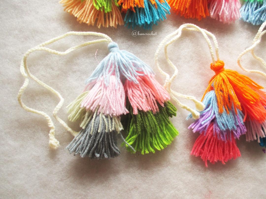 พวงกุญแจพู่ห้อยกระเป๋าโครเชต์ Tassel crochet