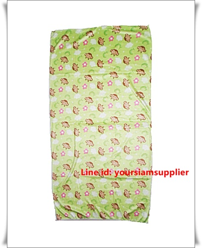 ผ้าเช็ดตัว ผ้าขนหนู ไมโครไฟเบอร์ นุ่ม เช็ดน้ำได้ดี ผืนใหญ่ 5 ฟุต ลายลิง สีเขียว