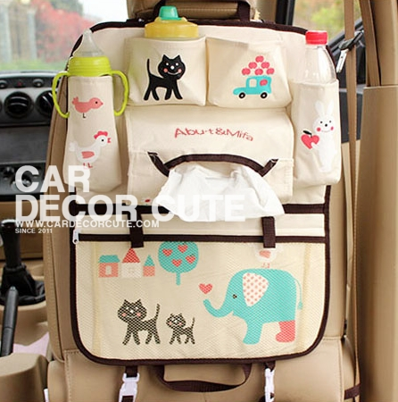 Storage bag กระเป๋าเก็บของเบาะหลังคนขับ - กระเป๋าใส่ขวดน้ำ ขวดนม เก็บกล่องกระดาษทิชชู เสริมในรถยนต์