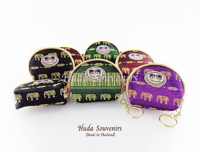 ของที่ระลึกไทย กระเป๋าใส่เศษสตางค์ ขอบทอง (ขนาด: ขอบทองใข่) ลวดลายช้างเดิน หนึ่งโหลคละสี จำหน่ายยกโหล สินค้าพร้อมส่ง