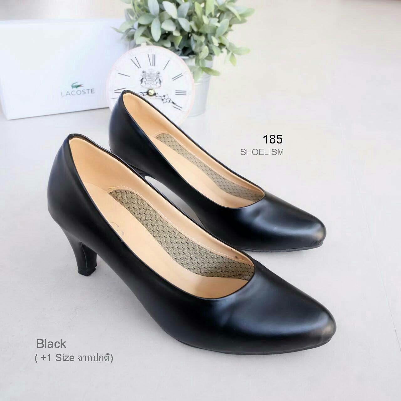 185 รองเท้าคัชชูดำ หนัง pu (+1 นะคะ)
