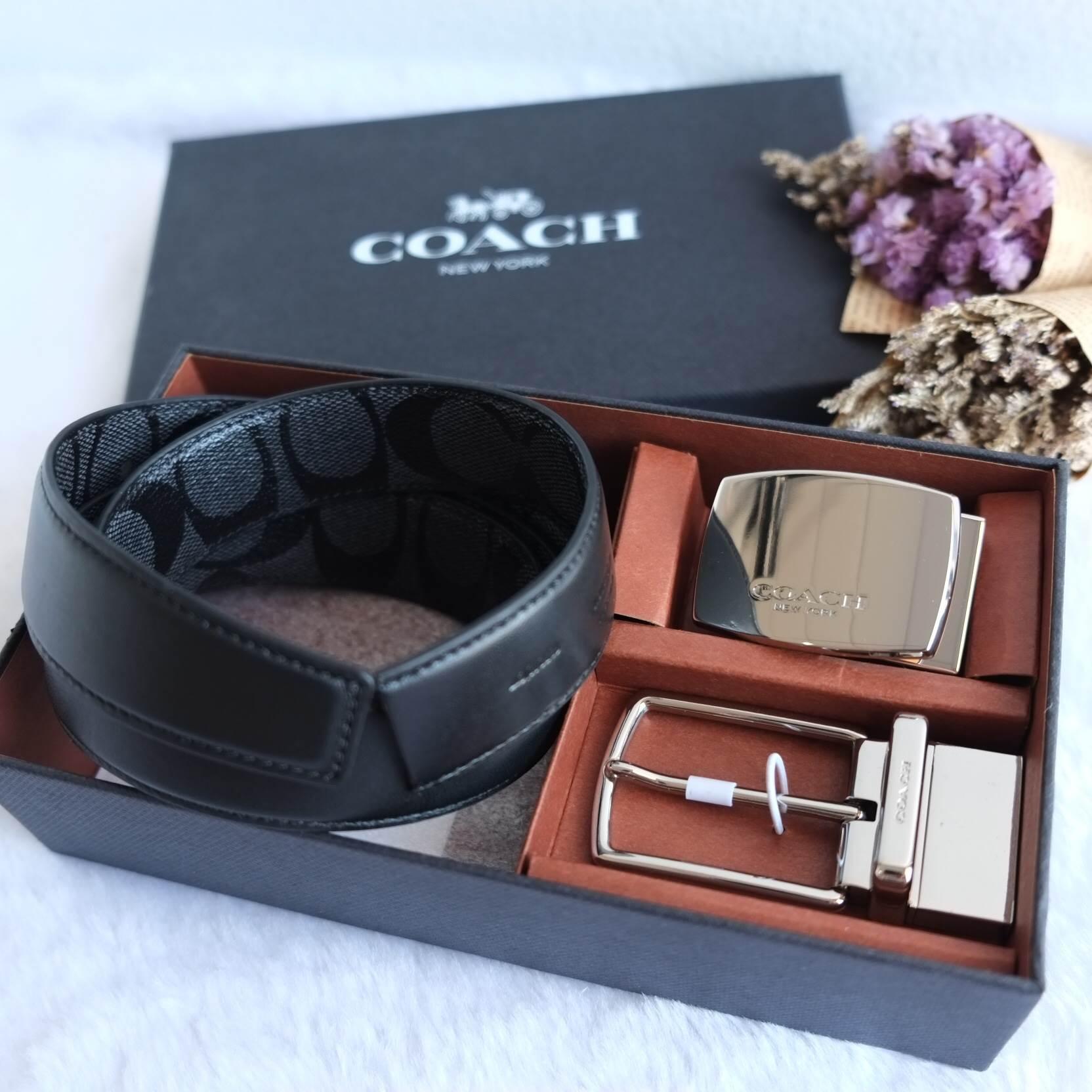 พร้อมส่ง SET ของขวัญเข็มขัดผู้ชาย COACH SIGNATURE CHARCOAL BLACK CUT TO SIZE REVERSIBLE BELT IN GIFT SET F65242