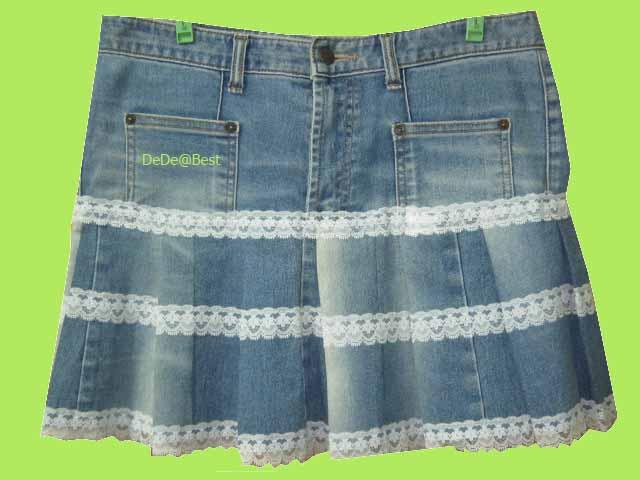 ขายแล้วค่ะ S1:Vintage skirt กระโปรงยีนส์วินเทจแต่งระบายด้วยลูกไม้น่ารัก&#x2764