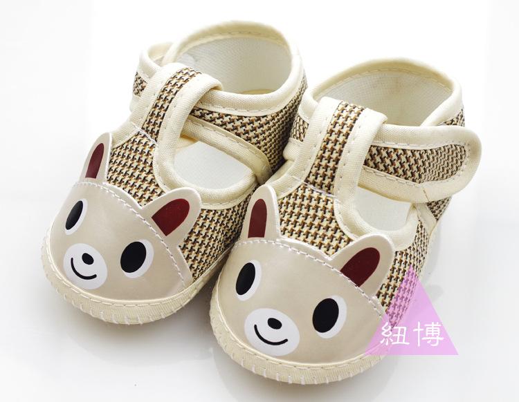 รองเท้าเด็กอ่อน ลายหมี สีน้ำตาลทองอ่อน