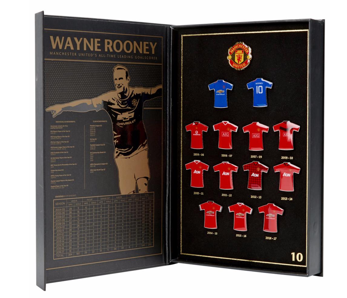 เข็มกลัดแมนเชสเตอร์ ยูไนเต็ด ที่ระลึกเวนรูนี่ของแท้ Manchester United Wayne Rooney All Time Leading Goalscorer Limited Edition Badge Set