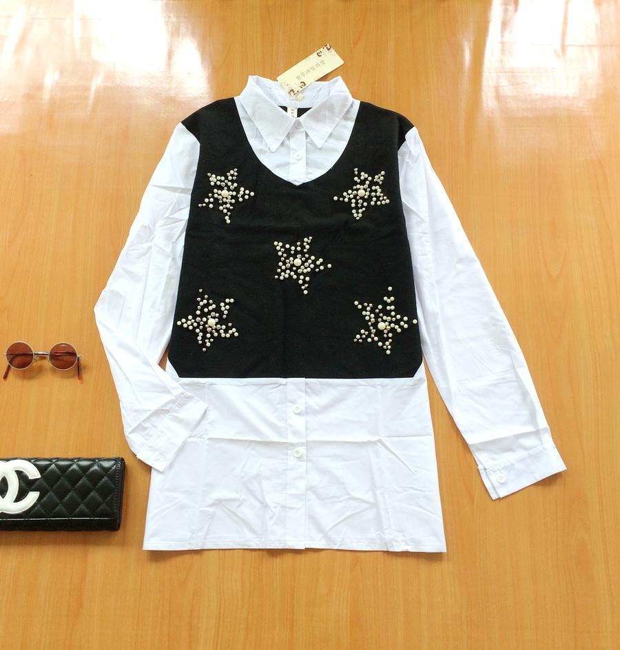 ขายส่ง:เสื้อ2ชั้นหลอกเสมือนสวมกั๊กทับเชิ้ตไว้เก๋ๆแต่งปักหมุดดาว/อก37