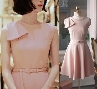"""size M""""พร้อมส่ง""""เสื้อผ้าแฟชั่นสไตล์เกาหลีราคาถูก Brand Hanphee เดรสสีชมพู แขนกุด แต่งบ่าขวา ซิปข้าง มีซับใน มีเข็มขัดให้"""