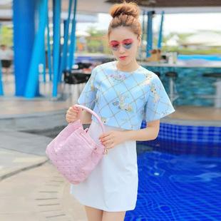 """size M""""พร้อมส่ง""""เสื้อผ้าแฟชั่นสไตล์เกาหลีราคาถูก Brand Aishikada เดรสสีขาวด้านบนคลุมด้วยเสื้อแขนสั้นสีฟ้าลายกวาง ซิปหลัง มีซับในตัว น่ารัก -size M"""