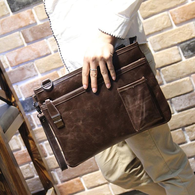 พร้อมส่ง กระเป๋าหนังแฟชั่น กระเป๋าเอกสาร กระเป๋าสะพายไหล่ หนังสีน้ำตาล ใส่ของได้เยอะ ใส่ไอแพด ใส่โทรศัพท์ สะพายไหล่ได้ ถือได้
