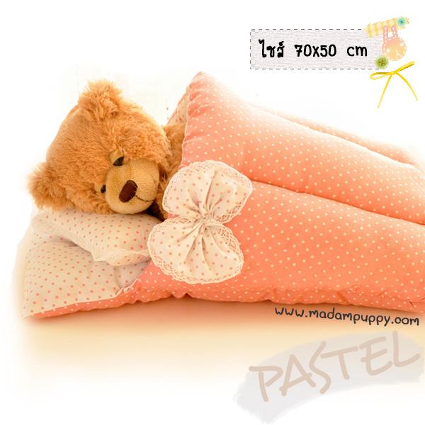 ที่นอนสุนัข ลายจุดสีหวาน Pastel สีชมพู (พร้อมส่ง)