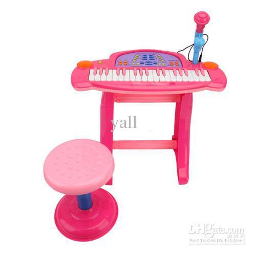 Electronic Keyboard 36 keys มีไมค์ อัดเสียงได้ พร้อมเก้าอี้นั่ง (ชมพู)