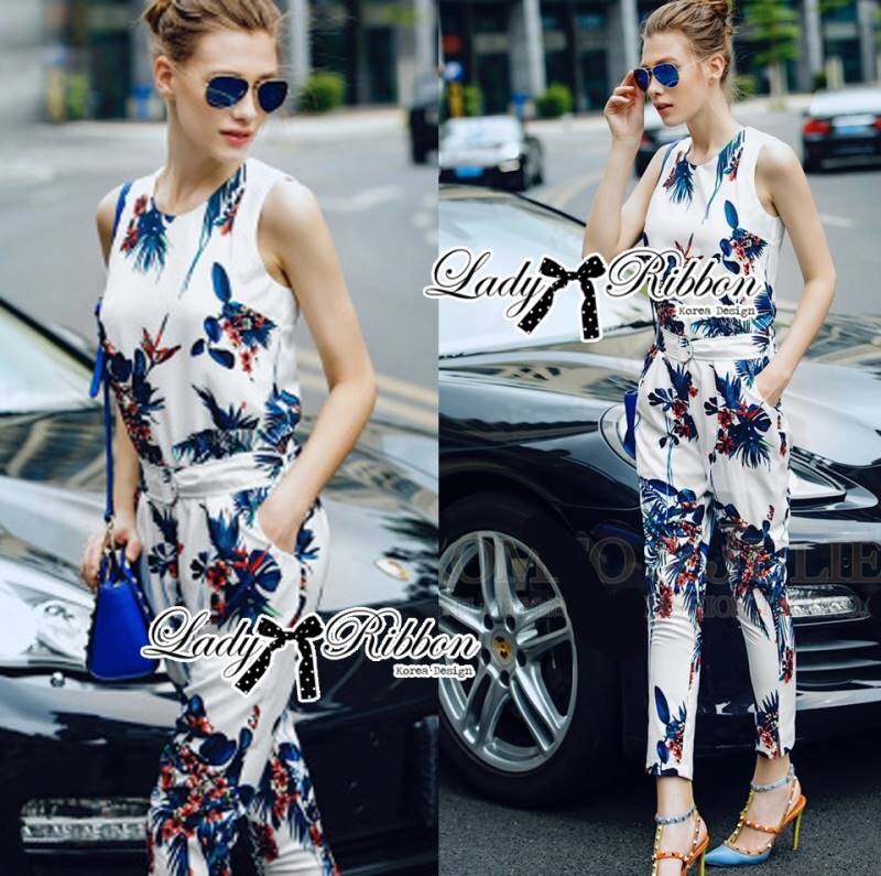 Lady Ribbon's Made Lady Poppy Tropical Summery Printed Jumpsuit