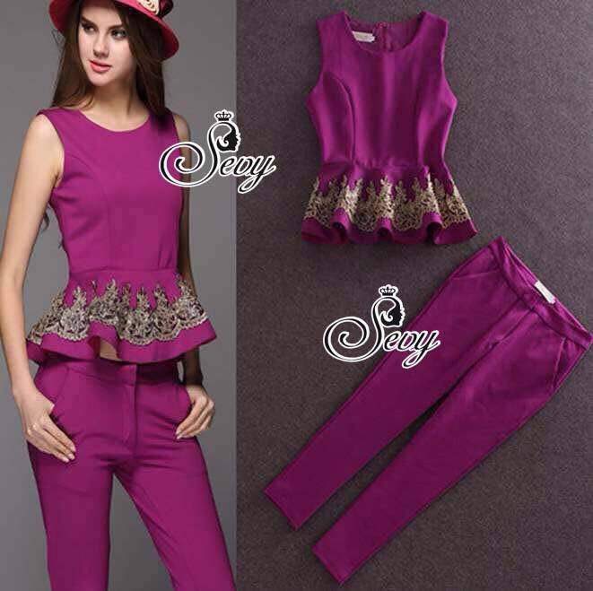 Sevy Two Pieces Of Flouncing Gold Embroidered Sleeveless Top With Feet Pants Suit Sets