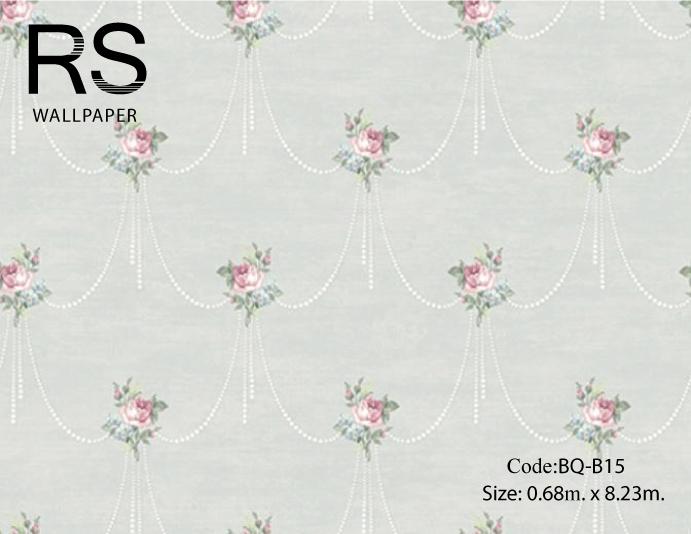 วอลเปเปอร์ลายดอกไม้สไตล์วินเทจเป็นพวงต่อกันดอกสีชมพู ฟ้าใบสีเขียวเทาเข้มพื้นสีเทาเงา BQ-B15