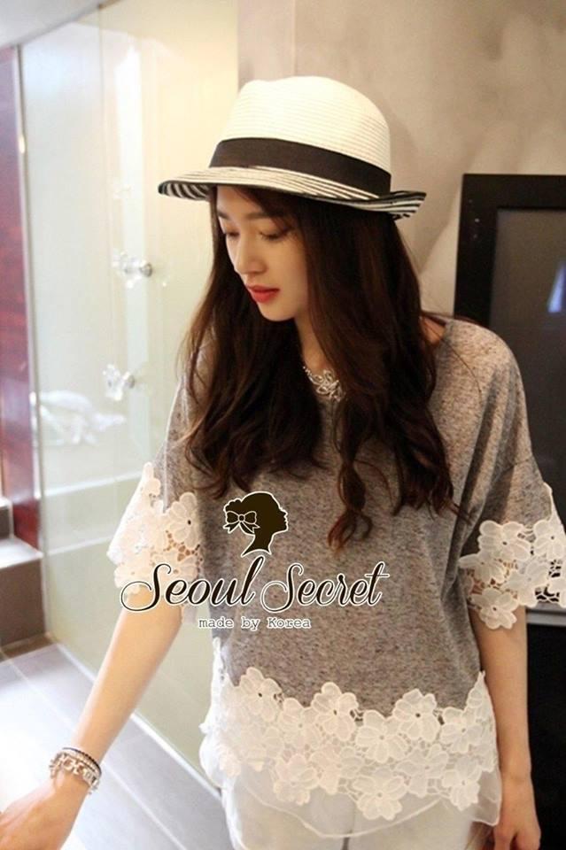 Love White Bloom Weave Top by Seoul Secret