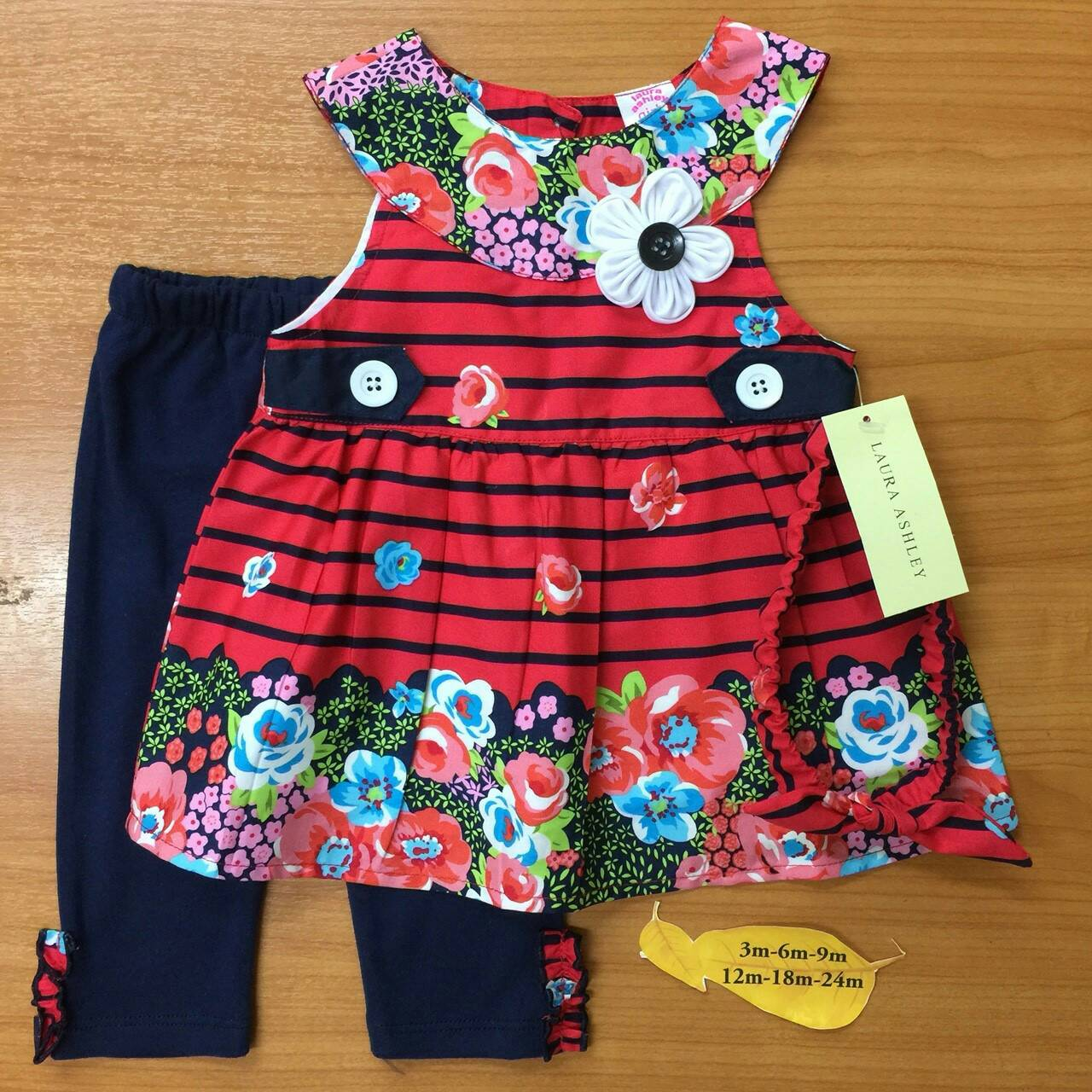เสื้อผ้าเด็ก เซตเสื้อ-เลกกิ้ง-สายคาดผม 12-24เดือน size 12m-18m-24m ลายดอก สีแดง-ดำ
