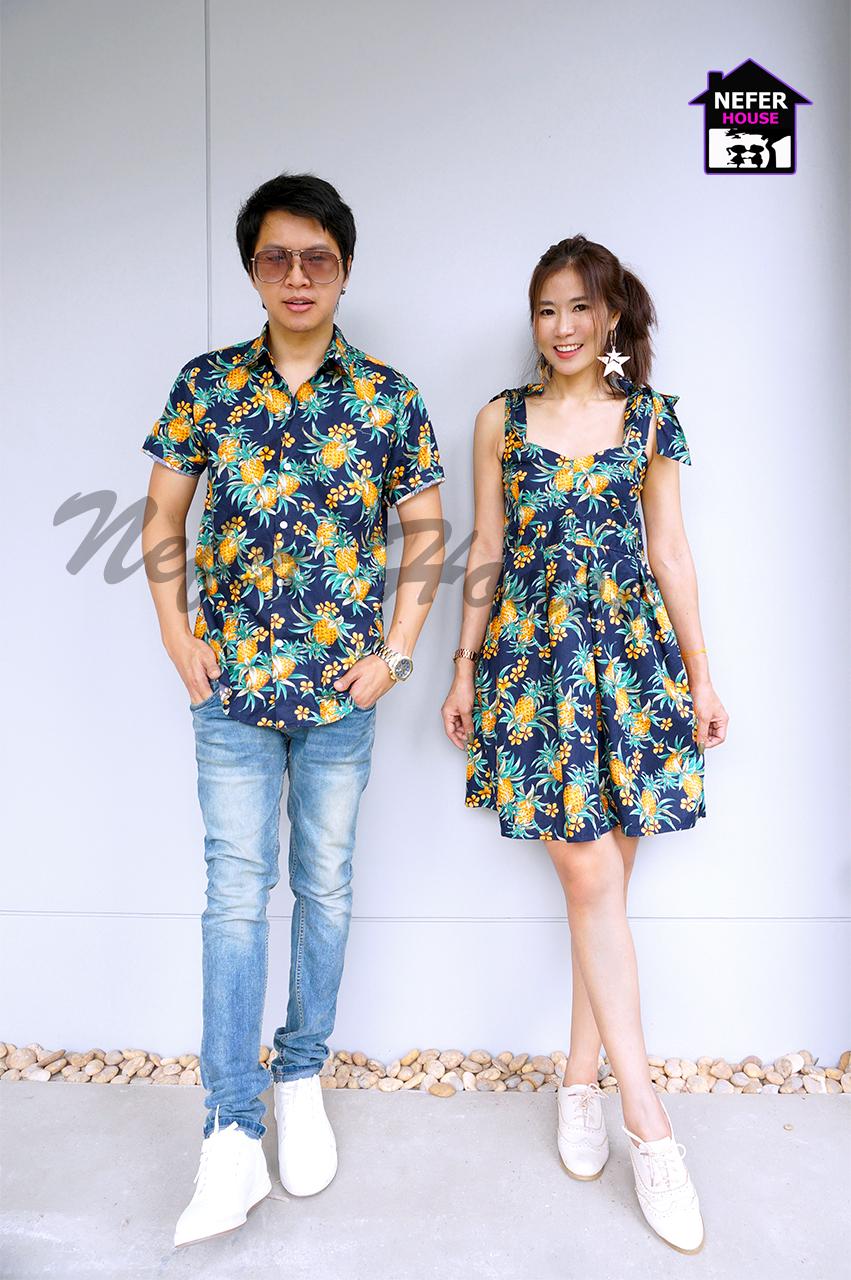 เสื้อคู่รักฮาวายลายดอก