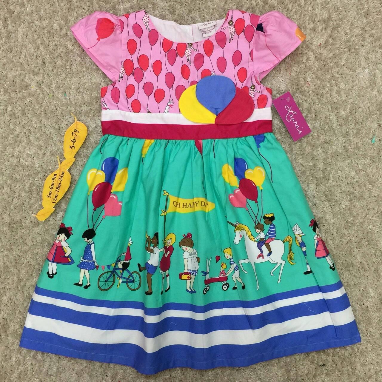 เสื้อผ้าเด็ก 5-7ปี size 5Y-6Y-7Y ลายลูกโป่ง สีชมพู/เขียว