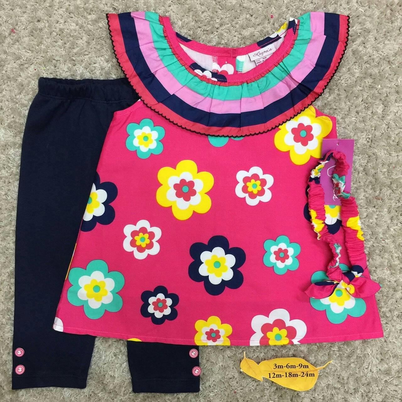 เสื้อผ้าเด็กเซต เสื้อ+เลกกิ้ง+สายคาดผม size 12m-18m-24m