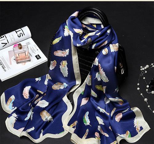 ผ้าพันคอ ผ้าคลุม ไหมญี่ปุ่น สกรีนลาย SJ01-012