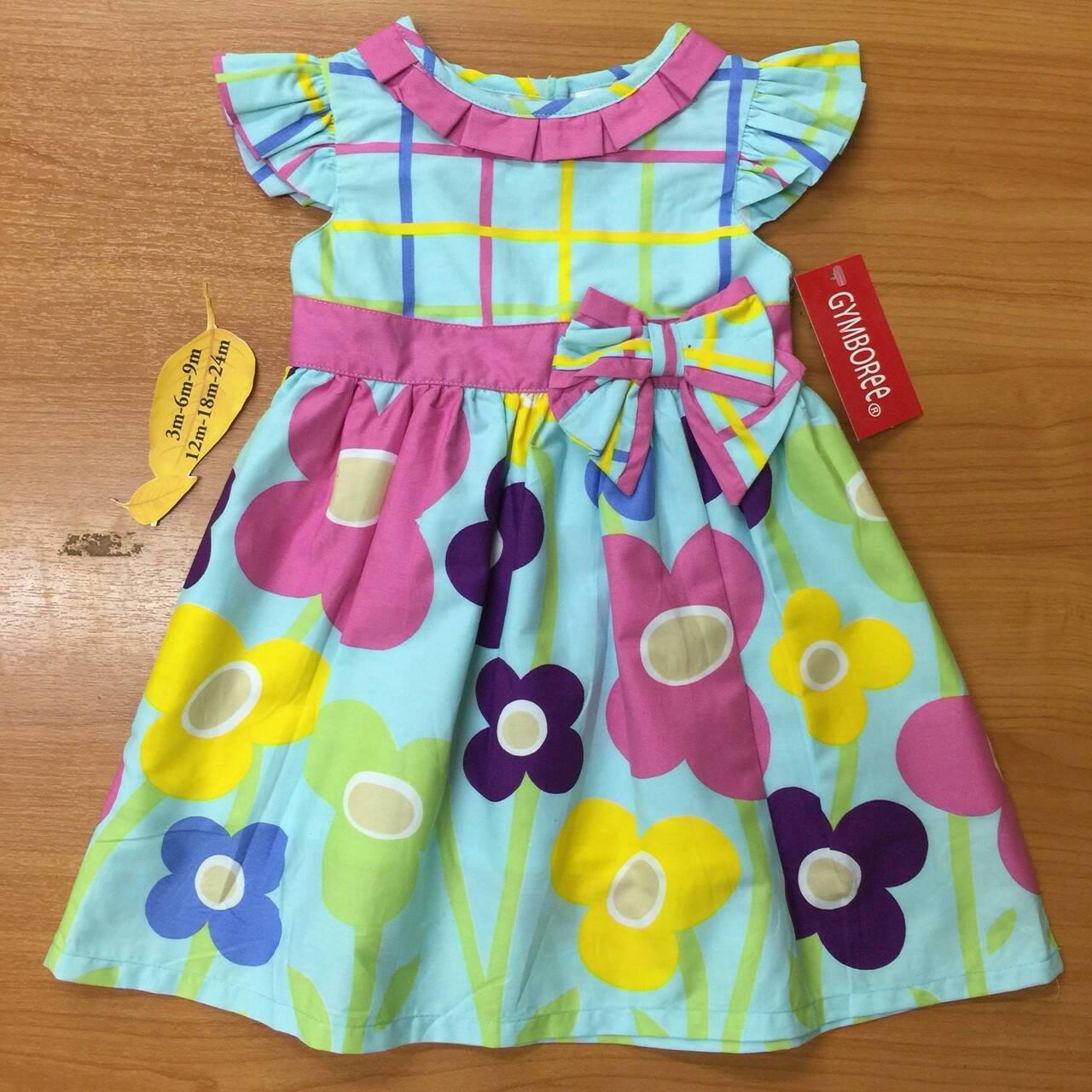 เสื้อผ้าเด็ก 1-2ปี size 12m-18m-24m ลายดอกไม้ พื้นหลังสีฟ้า