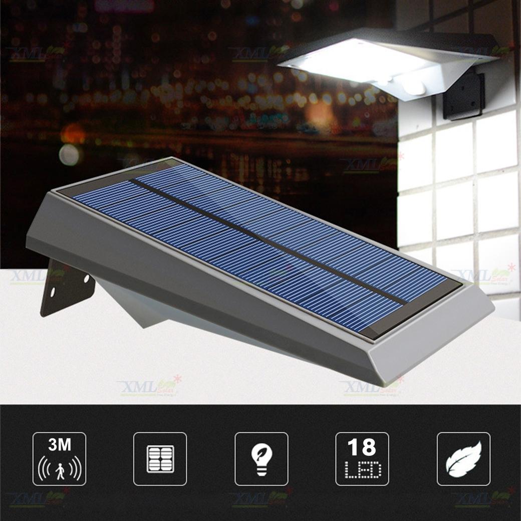 ไฟผนังโซล่าเซลล์ 18 SMD LED motion sensor (แสง:ขาว)