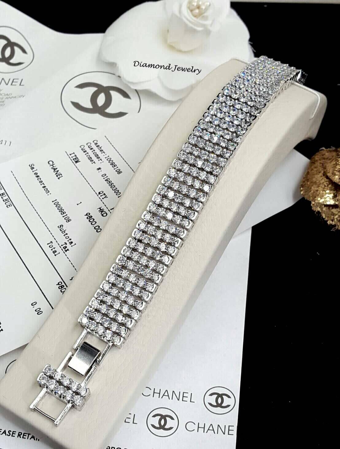 พร้อมส่ง Diamond Bracelet สร้อยข้อมือเพชรงานเกรดไฮเอนค่ะ เพชร 5 แถว