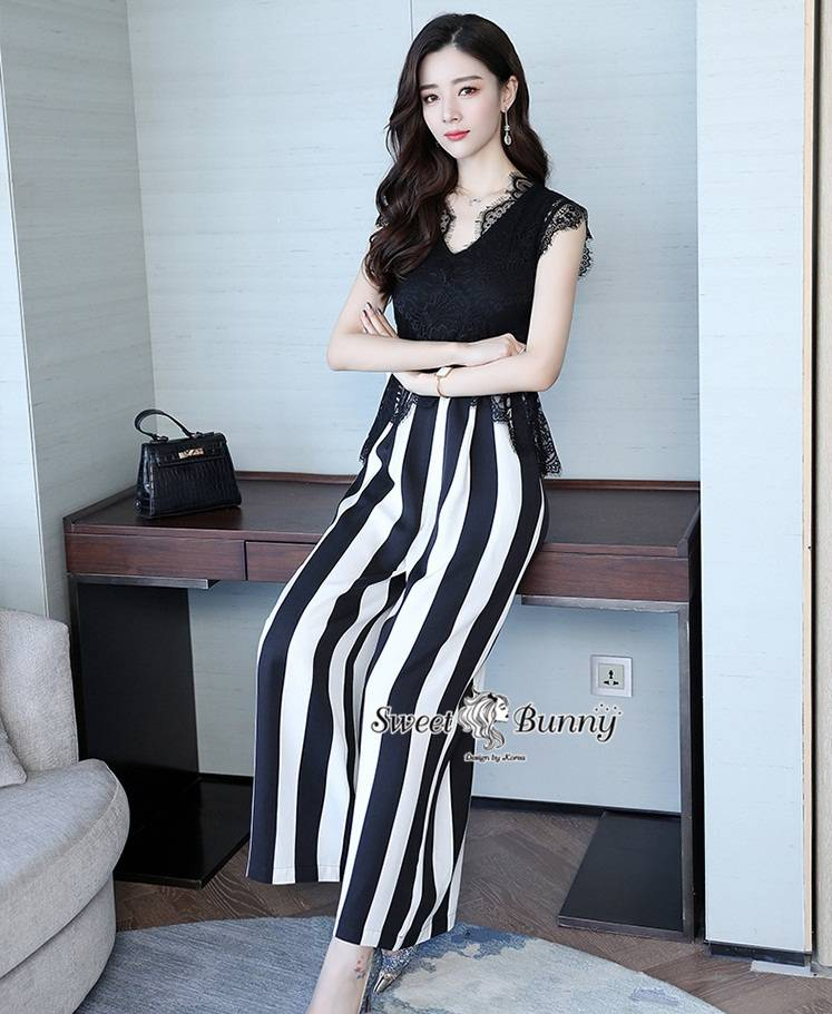 Stripe Lace Jumpsuit