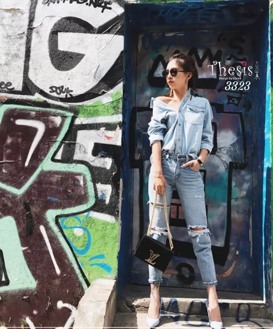เสื้อผ้าเกาหลีพร้อมส่ง กางเกงยีนส์ทรงสวย แต่งขาดริ้วช่วงขา