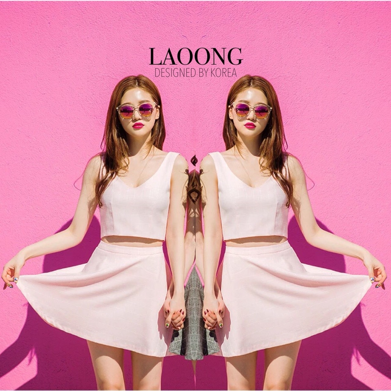 เสื้อผ้าเกาหลีพร้อมส่ง Set สีชมพูพิมพ์ลายตารางสีขาวอ่อนๆ