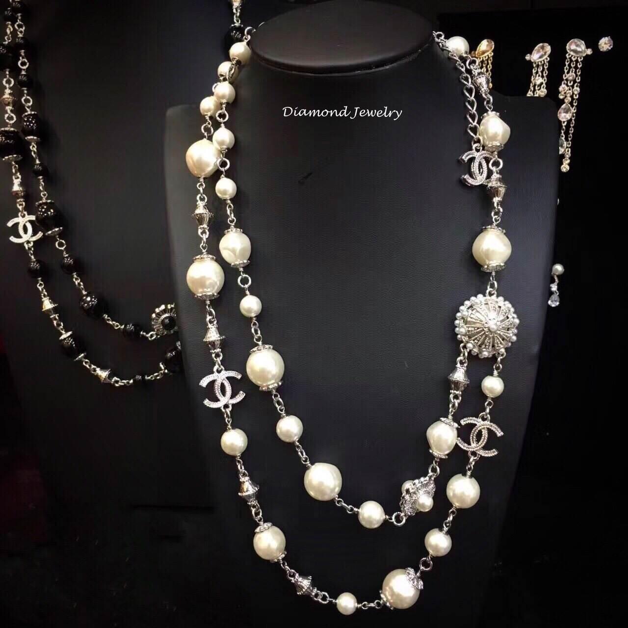 พร้อมส่ง Chanel Necklace เกรดซุปเปร์ไฮเอนคะงานมุก 2 ชั้น