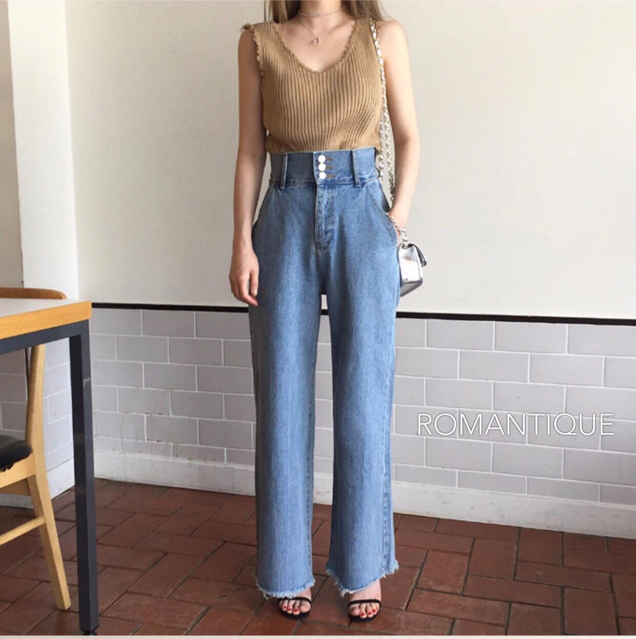เสื้อผ้าเกาหลีพร้อมส่ง กางเกงยีนส์เอวสูงทรงวินเทจ