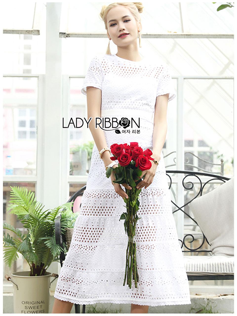 Meryl Basic Laser-Cut White Cotton Dress