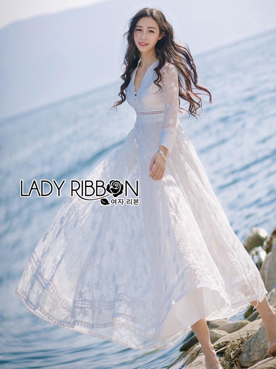 ชุดเดรสเกาหลี พร้อมส่งเดรสผ้าคอตตอนสีขาวปักลายดอกไม้สไตล์ลำลองสุดหวาน