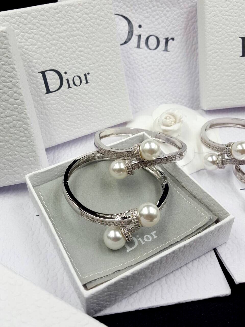Pearl Bracelet & Ring กำไลเพชร CZ แท้ประดับมุก