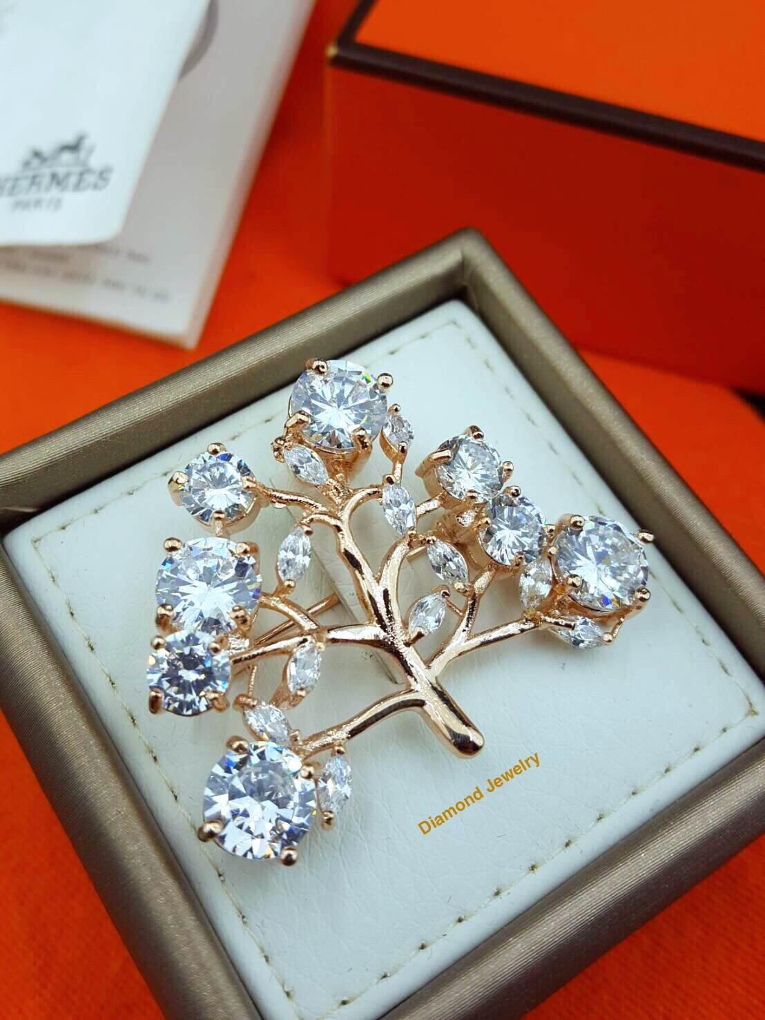 พร้อมส่ง Diamond Brooch เข็มกลัดเพชรดีไซต้นไม้งานเพชร CZ แท้