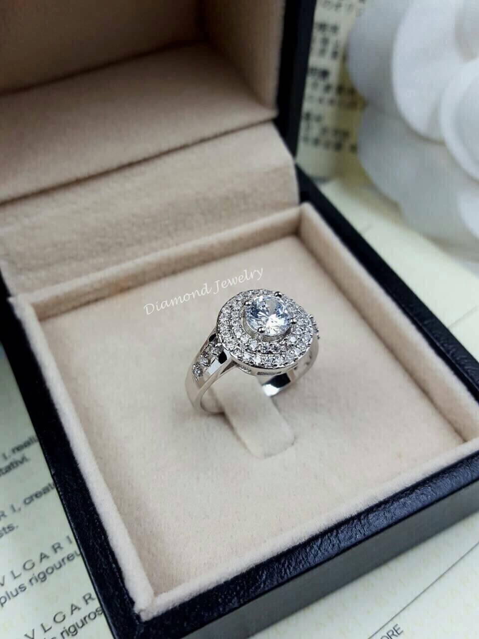 พร้อมส่ง Diamond Ring แหวนเพชร CZ งานล้อมเพชร 2 ชั้น