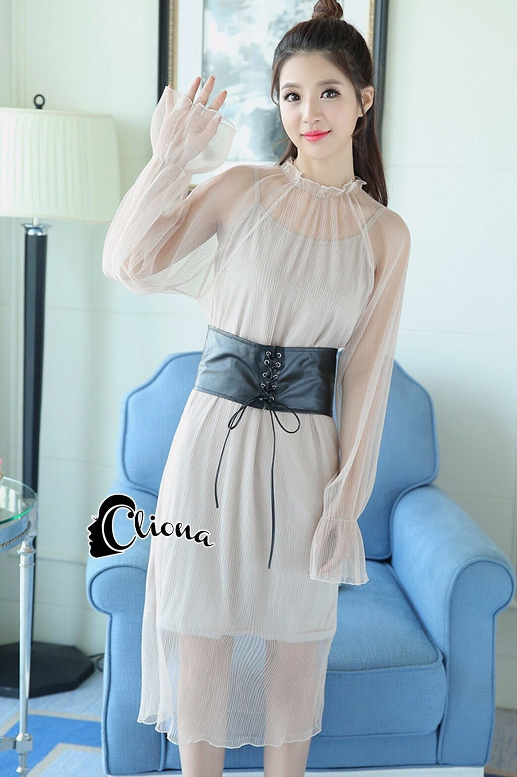 ชุดเดรสเกาหลี พร้อมส่งLong dress. ผ้ามุ้งแขนยาว