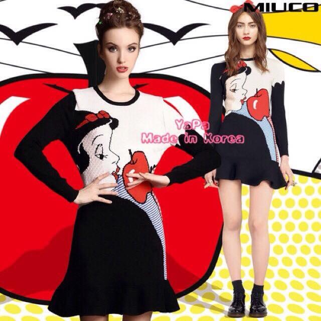 ชุดเดรสเกาหลี พร้อมส่ง เดรส Snow White น่ารักฝุดๆ ทรงเข้ารูปสวย