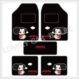 ชุดพรมปูพื้นรถยนต์ ลาย Ddung สีดำ