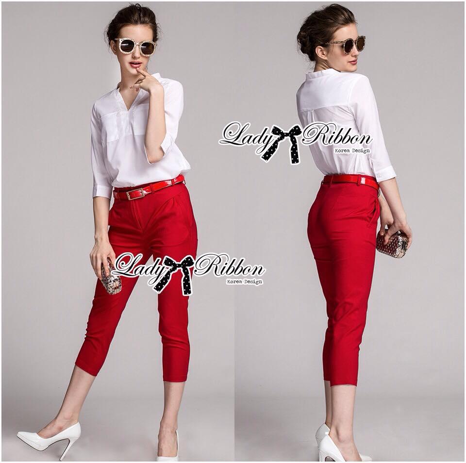 เสื้อผ้าเกาหลี พร้อมส่ง เซ็ตเสื้อ-กางเกงขายาวทรงสกินนี่สีเเดง red rouge