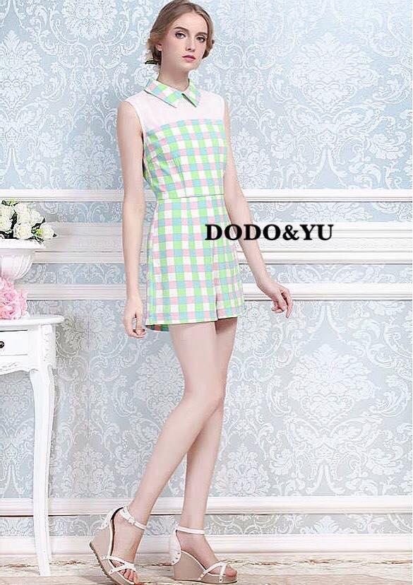 เสื้อผ้าเกาหลี พร้อมส่งชุดจั๊มสูทลายตารางผ้าโพลีเกรดพรีเมี่ยมสีพาสเทล