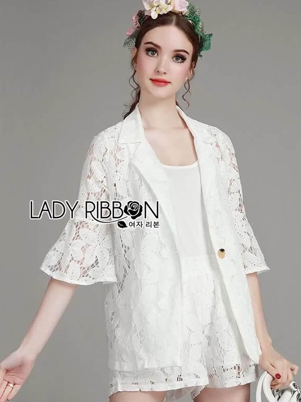 เสื้อผ้าเกาหลี พร้อมส่งเซ็ตสูทและกางเกงผ้าลูกไม้พร้อมสายเดี่ยวสีขาว